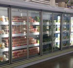 超市節能改造立風柜玻璃門
